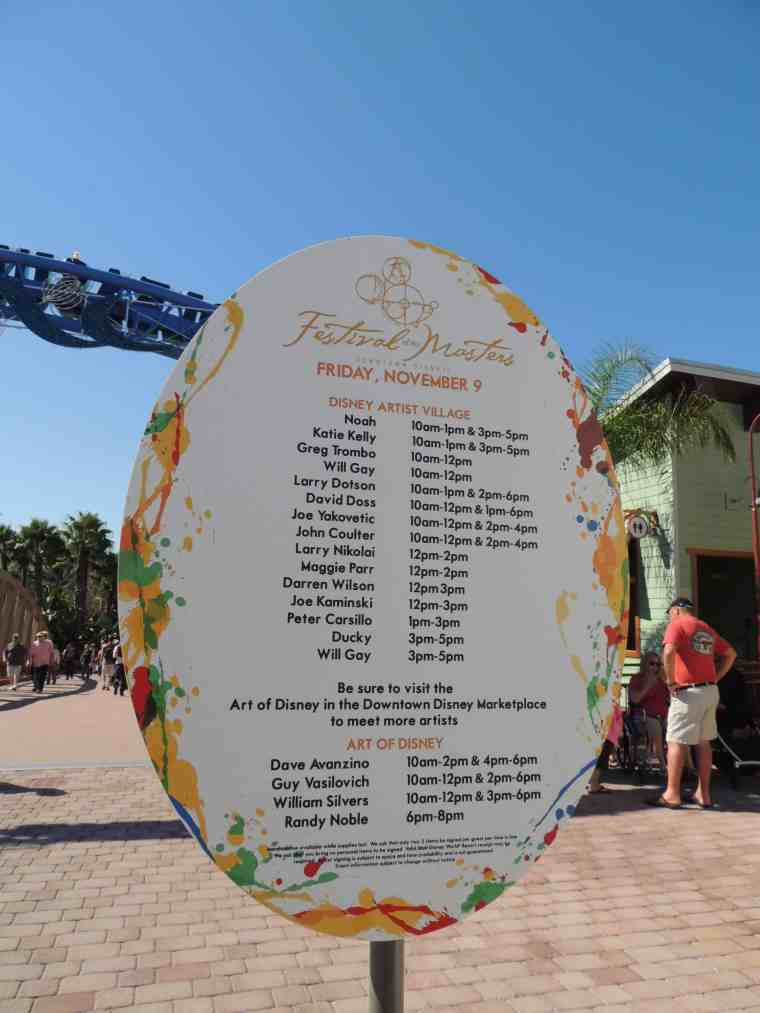 Festival of the Masters artist signing schedule