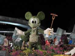 Mickey topiary at night