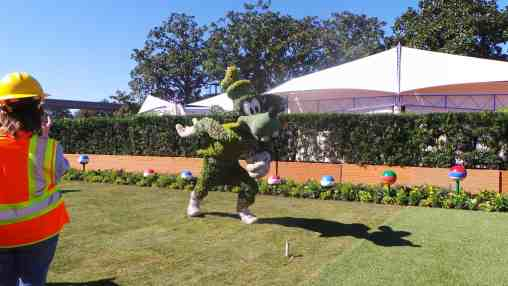 A topiary soccer ball will be by Goofy for guest photos