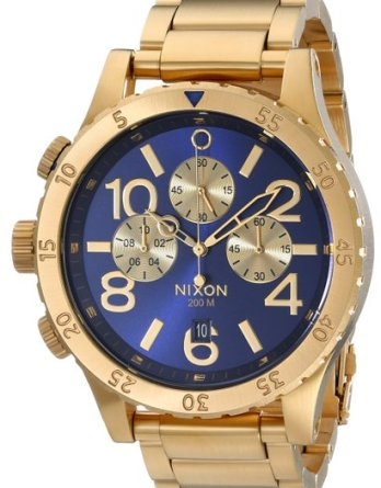 Nixon Blue Dial Gold Men's Watch
