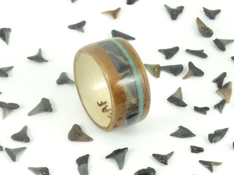 Shark Tooth & Koa Wood Ring