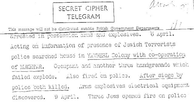 """המברק הבריטי החושף את העובדה שה""""מוכתר"""" של הישוב הסגיר את הלוחמים"""