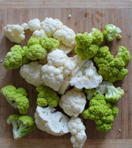 I used a combination of green and white cauliflower, because it's what I had on hand.