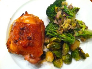 Chicken thighs baked with coconut aminos and garlic, roasted Brussels & lemon sesame broccoli