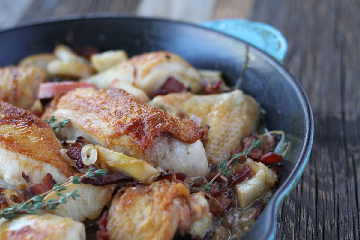 The Zenbelly Cookbook Sneak Peek: pan-roasted chicken with bacon and apples
