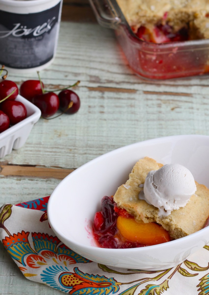 Brown Butter Peach and Cherry Cobbler