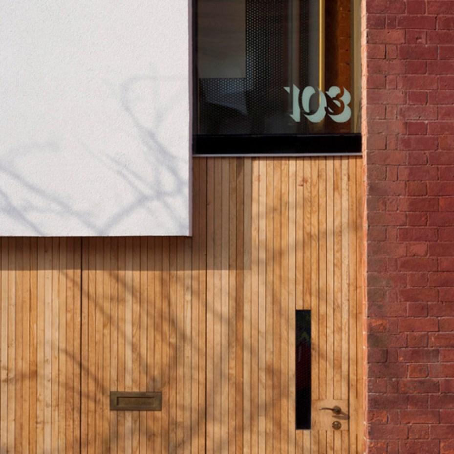 Front door of zero carbon house Birmingham in Tindal Street