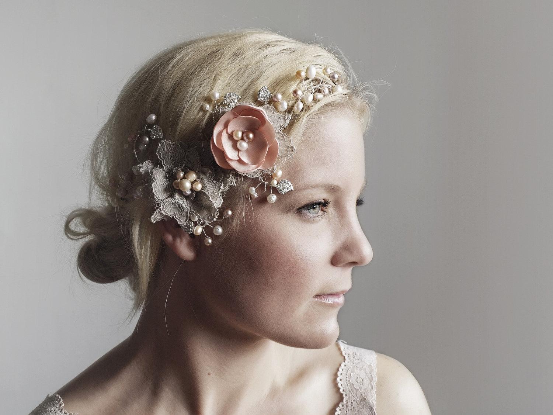 boho bridal headpiece miss darling 2 piece blush bridal headpiece woodland wedding wedding headpiece