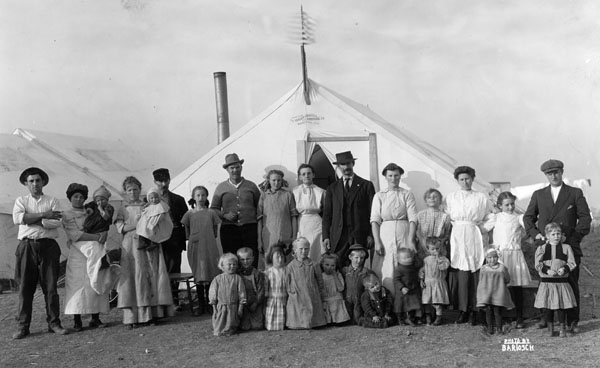 Striking family at Ludlow shortly before the April 20, 1914 massacre.