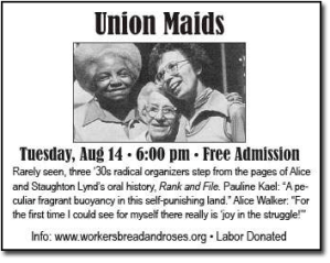 "A 2012 flyer for event featuring women in the film ""Union Maids."""