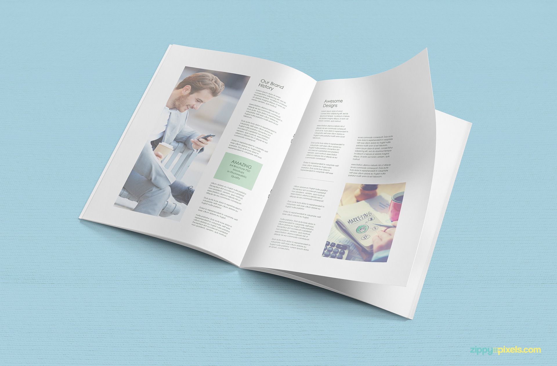 Free A4 Brochure Mockup   ZippyPixels     a4 brochure mockup page turning in air