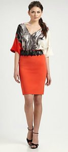 Orange skirt with black and white