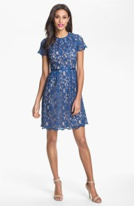 Adrianna Papell Scalloped Lace Wedding Guest Dress