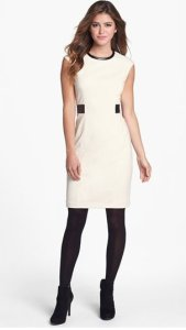 Calvin Klein White Faux Leather Dress NAS