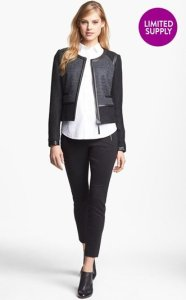 Halogen Faux Leather Trim Jacket