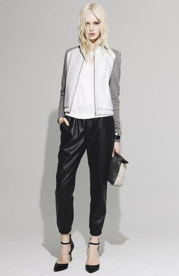 White and grey contrast sleeve bomber with slouchy pants