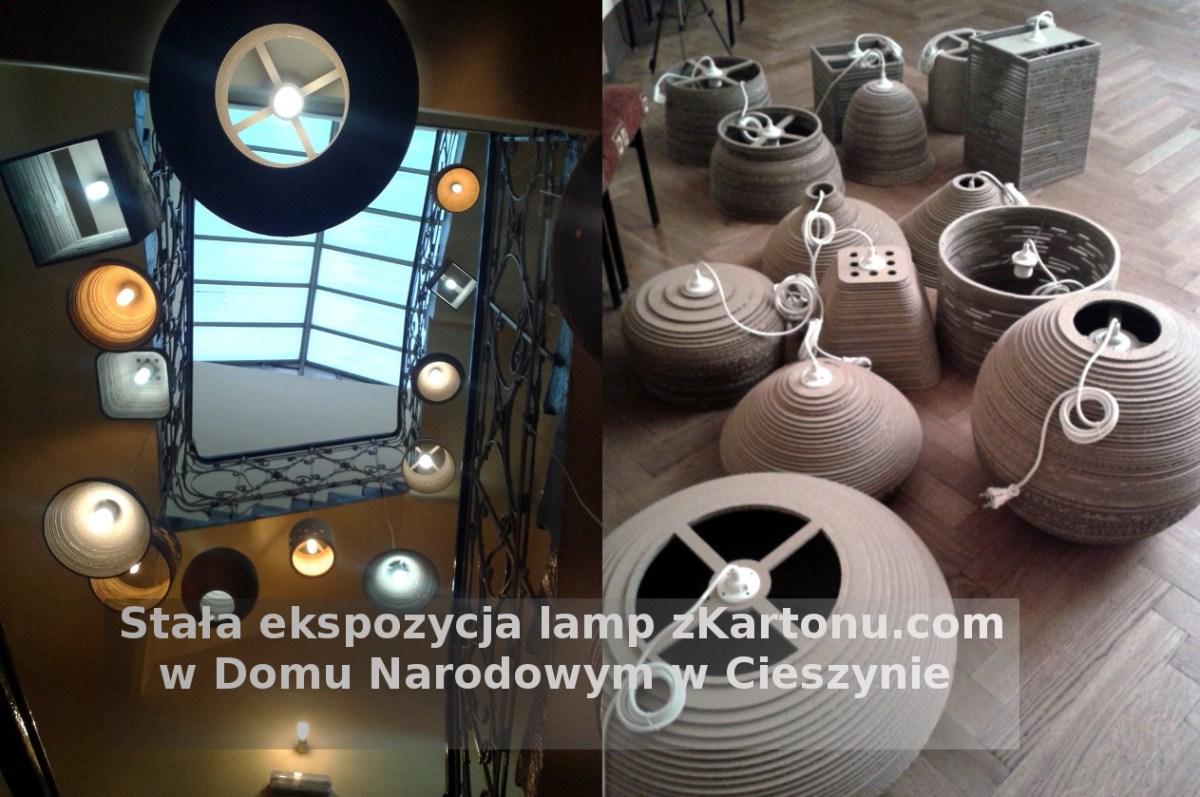 Ekspozycja lamp zKartonu w Domu Narodowym