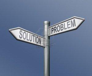 8363722-problem-solution-road-sign-blue-background