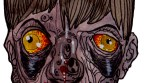 Zombie Art : Bowl Cut bug Eyed Zombie Head - Zombie Art by Rob Sacchetto