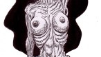 Zombie Art : Zombie Pinup Diva #186 Nude Zombie on Pedestal - Zombie Art by Rob Sacchetto