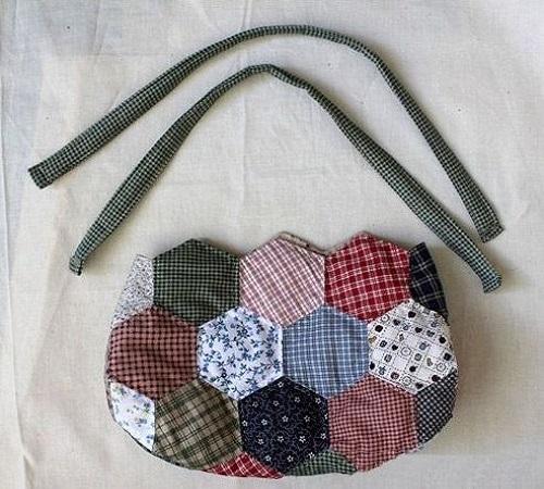 Tutorial Membuat Tas Patchwork Hexagon dari Kain Perca atau Baju Bekas 3