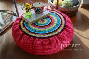 pattern colorful crochet floor cushion (crochet pouf)