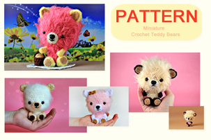 miniature teddy bear pattern, crochet mini teddy bears, crochet mini teddy bears pattern, crochet mini teddy bears tutorial, how to make crochet teddy bears, how to crochet teddy bears, pdf pattern, tutorial, pictures, step by step, images, etsy