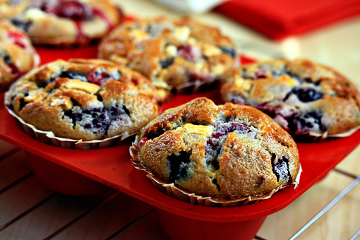 mixed berry muffins with white chocolate chunks recipe with step-by-step images