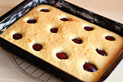 plum cake recipe with step by step picture tutorial, bake at 350 F - 175 C for about 20 minutes or until a toothpick inserted in the center of the cake comes out clean