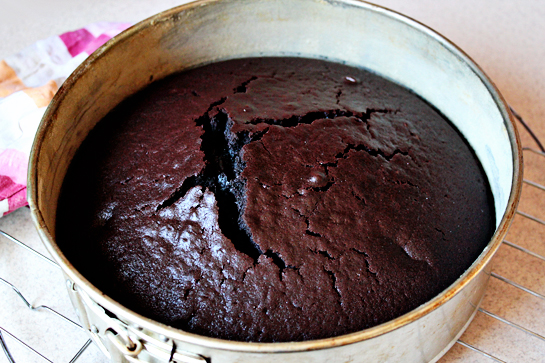 Chocolate Cake With Chocolate Buttercream Frosting,Remove from the oven. Let cool for 5 minutes in the pan. Then remove from the pan and let cool completely.
