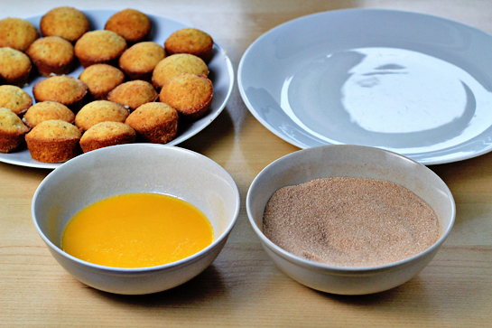 donut mini muffins step by step recipe with pictures bowls with melted butter and cinnamon sugar coating