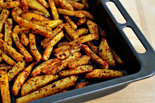 man approved spicy oven baked french fries bake in the preheated oven (430 F - 220 C) for about 40 minutes