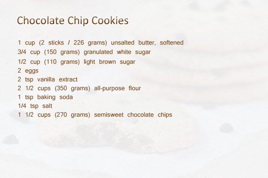 chocolate chip cookies recipe, ingredients