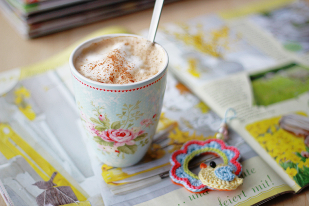 latte shabby chic mug and spring flower magazines