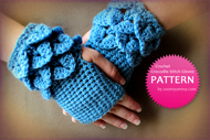 Crocodile Stitch Fingerless Gloves