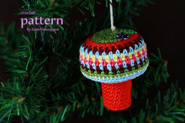crochet pattern - mushroom ornament