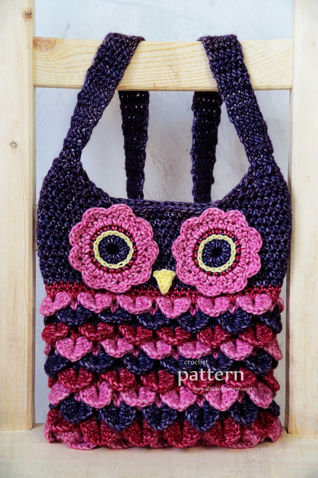 crochet owl purse with feathers pattern