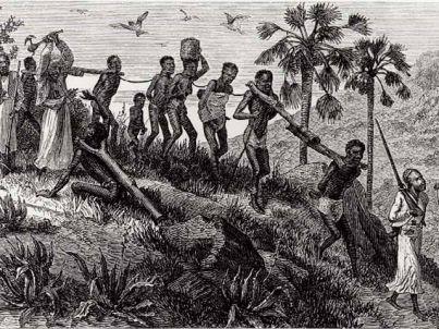 carovana di schiavi e padroni musulmani del XIX secolo