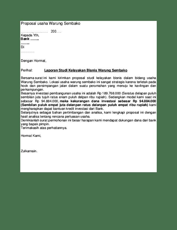 Contoh Proposal Permintaan Bantuan Usaha Kios Pdf