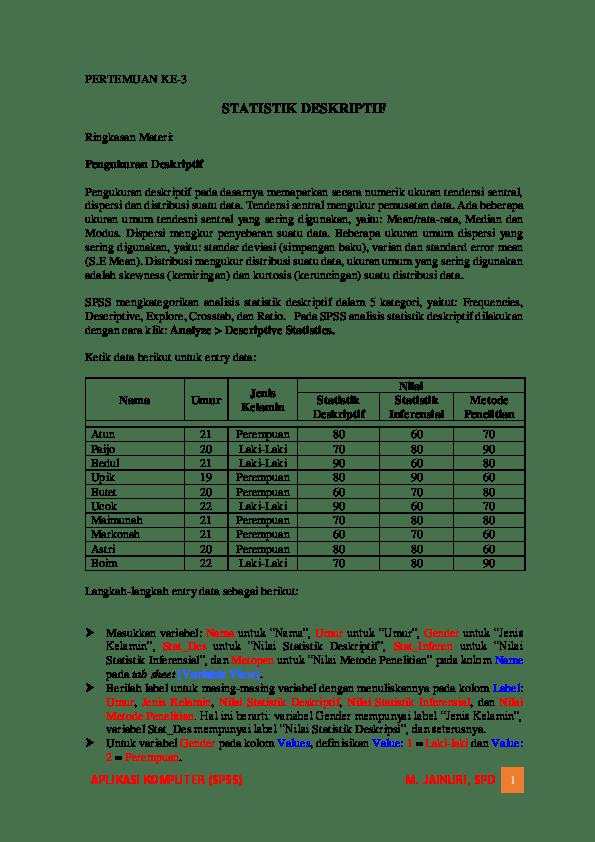 11/12/2008· apabila analisis statistik deskriptif sebelumnya mengolah data secara keseluruhan dalam setiap variabel dengan menghitung perhitungan statistik seperti mean, standar deviasi, kurtosis, etc. Pdf Statistik Deskriptif Di Ibm Spss 21 Muhammad Jainuri Academia Edu