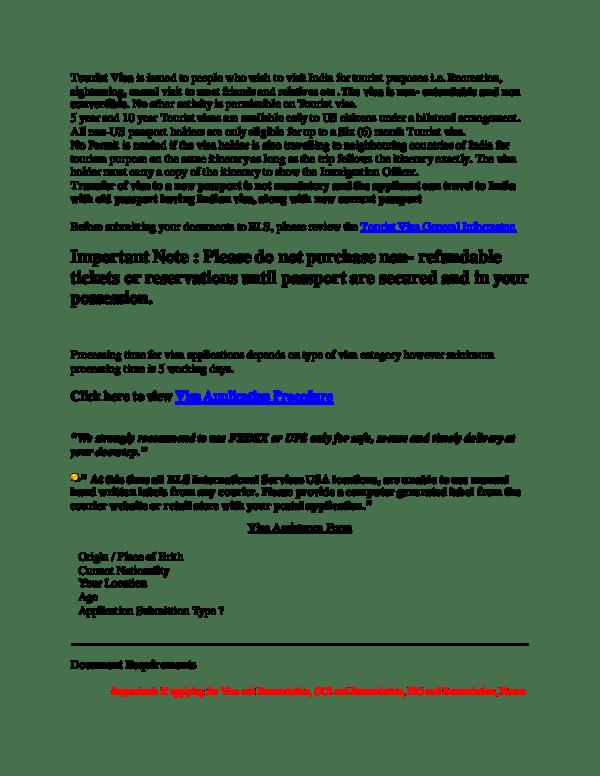 Tourist Visa Assistance Form Origin