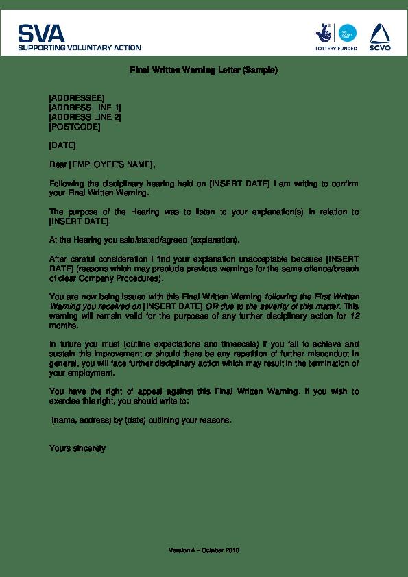 Final Written Warning Letter Sample