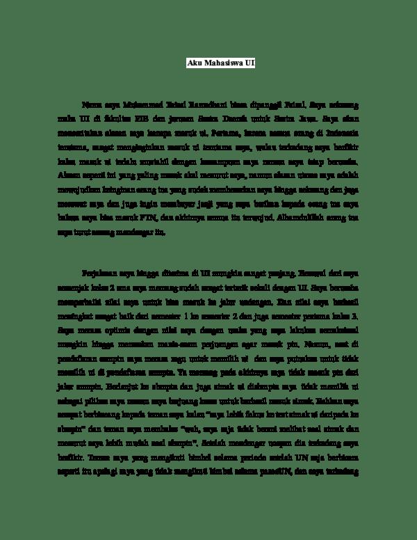 Contoh Essay Simak UI