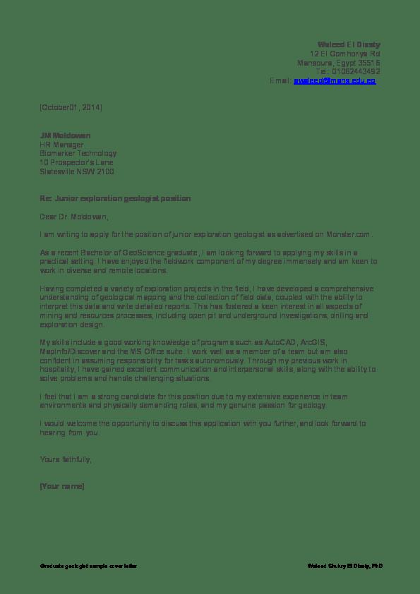 Geology Graduate Cover Letter Sample Fresh