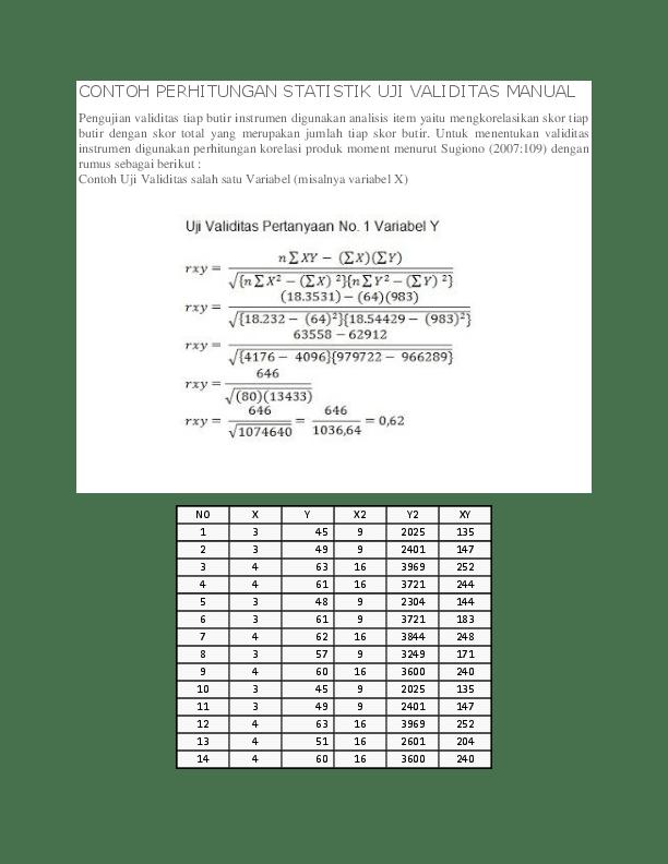 Uji f dapat dilakukan dengan membandingkan f hitung dengan tabel f: Doc Contoh Perhitungan Statistik Uji Validitas Manual Wangni Retu Academia Edu