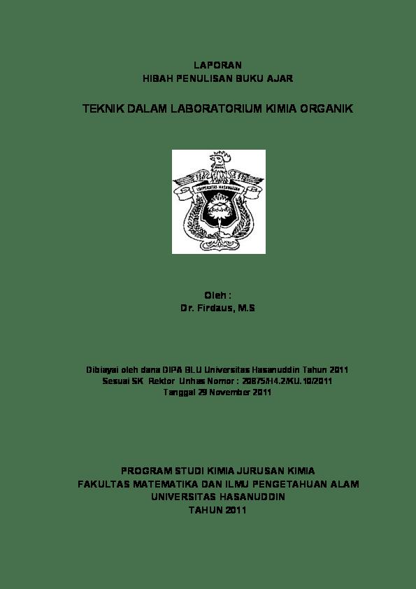 (koordinator mata kuliah) (ketua program studi kimia) ( ketua jurusan. (PDF) BUKU AJAR TEKNIK LABORATORIUM KIMIA ORGANIK   imelda