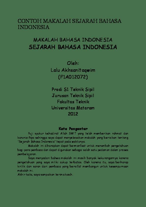 Sejarah lahirnya dasar negara indonesia di masa lalu. Makalah Sejarah Bahasa Indonesia Pdf