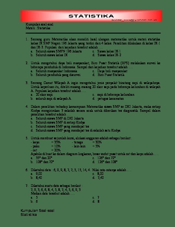 Statistika dan penyajian data part 1 matematika kelas 7 sem 2, then, you could have a look at as should you were being purchasing something. Doc Kumpulan Soal Soal Materi Statistika Nelma Samsuarini Academia Edu