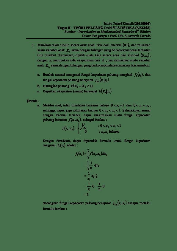 Suhartono selaku kepala departemen statistika. Pdf Teori Peluang Dan Statistika Multivariate Distribution Indira Puteri Academia Edu