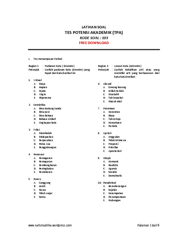 Download kumpulan soal tes potensi skolastik (tps) ujian tulis berbasis. Pdf Contoh Soal Sipencantar Pip Nadia Indah Puspita Academia Edu
